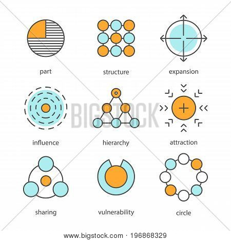 Abstract symbols color icons set. Part, structure, expansion, influence, hierarchy, attraction, sharing, vulnerability, circle. Isolated vector illustrations