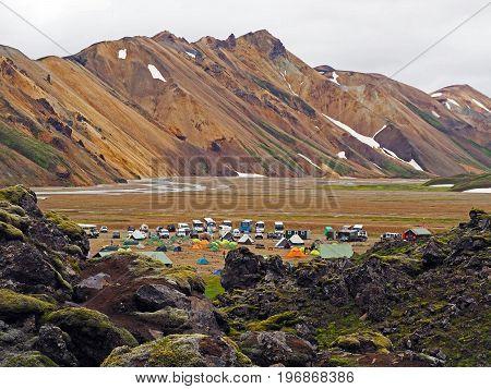 view on landmannalaugar camp site - start of famous iceland Laugavegur trek