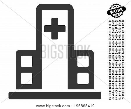 Hospital Building icon with black bonus job icon set. Hospital Building vector illustration style is a flat gray iconic symbol for web design, app user interfaces.