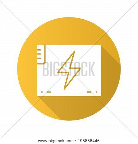 Accumulator battery flat design long shadow glyph icon. Action camera battery. Vector silhouette illustration