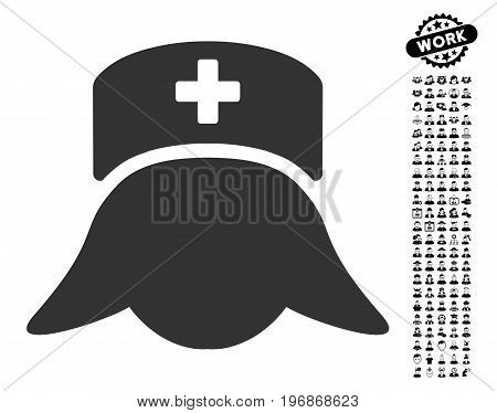 Hospital Nurse Head icon with black bonus professional pictograph collection. Hospital Nurse Head vector illustration style is a flat gray iconic element for web design, app user interfaces.