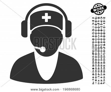 Hospital Receptionist icon with black bonus people images. Hospital Receptionist vector illustration style is a flat gray iconic symbol for web design, app user interfaces.