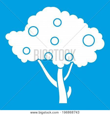 Apples on apple tree branches icon white isolated on blue background vector illustration