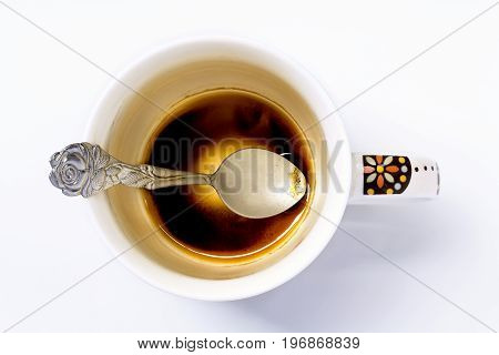 Empty coffee cup on a white background.