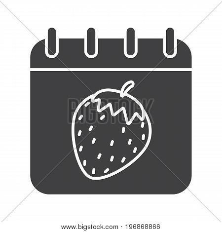 International Sex Day glyph icon. Silhouette symbol. Calendar page with strawberry. Negative space. Vector isolated illustration