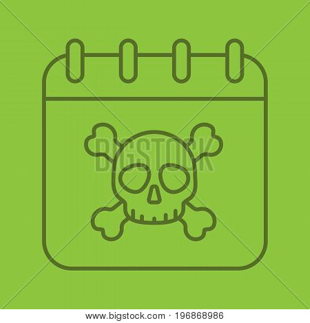 Deadline linear icon. Calendar page with skull and crossbones. Thin line outline symbols on color background. Vector illustration