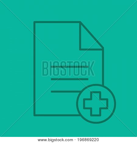 Patient card linear icon. Text file with star of life. Medical insurance. Thin line outline symbols on color background. Vector illustration