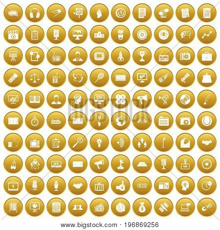 100 media icons set in gold circle isolated on white vector illustration