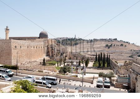 Jerusalem Israel July 14 2017 : View of the Temple Mount and Mount of Olives Jerusalem Cemetery in the Old City of Jerusalem Israel