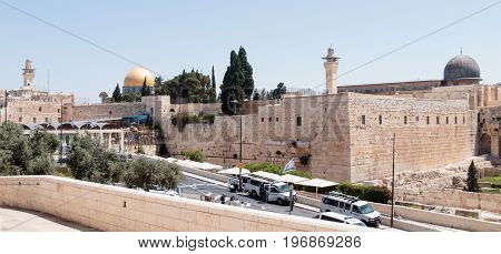 Jerusalem Israel July 14 2017 : View of the Temple Mount in the Old City of Jerusalem Israel