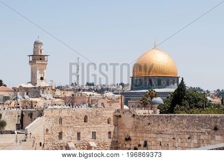 View of the Temple Mount and El-Ghawanima Tower in the Old City of Jerusalem Israel