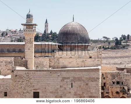 View of the Al-Aqsa Mosque and El-Ghawanima Tower in the Old City of Jerusalem Israel