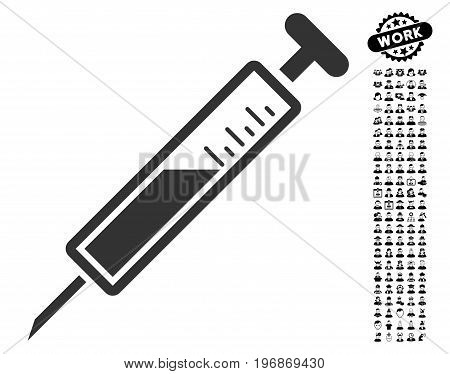 Injection icon with black bonus work clip art. Injection vector illustration style is a flat gray iconic symbol for web design, app user interfaces.