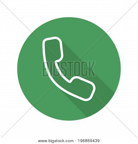 Handset flat linear long shadow icon. Phone. Vector outline symbol