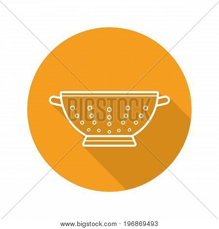 Colander flat linear long shadow icon. Strainer. Vector outline symbol