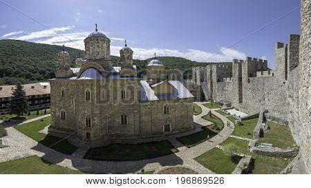 Despotovac Serbia - July 02 2017: Inside of the Monastery Manasija photo taken from main Despot's tower with a view on the Church of Holy Trinity Resava Despotovac Serbia
