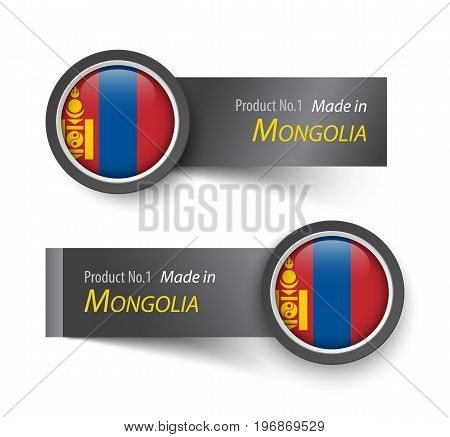 Flag icon and label with text made in Mongolia .