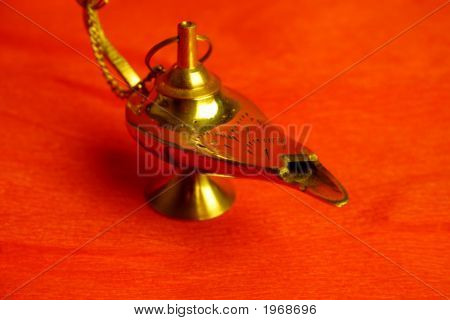 Aladdin Genie's Magic Lamp in Red background poster