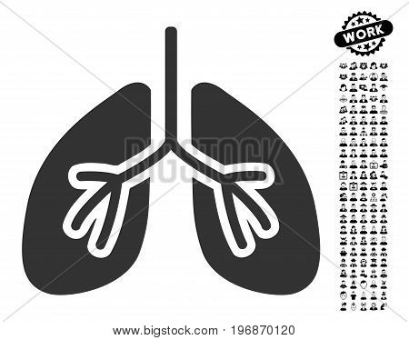 Lungs icon with black bonus men icon set. Lungs vector illustration style is a flat gray iconic element for web design, app user interfaces.