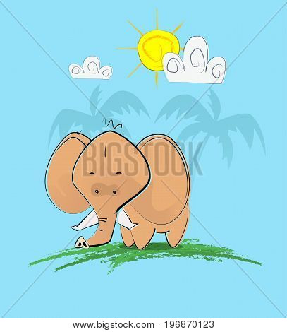 Cute hand draw style elephant with clouds and sun over his head. Can be used for baby fashion design. Vector