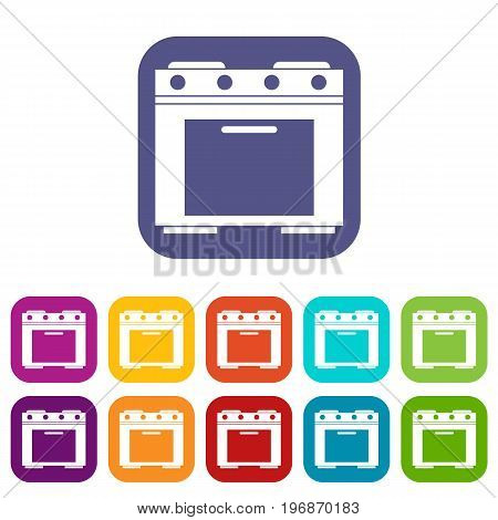 Gas stove icons set vector illustration in flat style in colors red, blue, green, and other