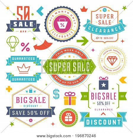 Sale Labels and Tags Design Vector Vintage Set for Banners, Promotional Brochures, Discount Poster, Shopping Flyer, Clearance Advertising. Collection Sale objects and icons.