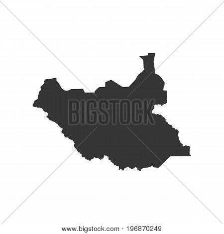 South Sudan map outline on the white background. Vector illustration