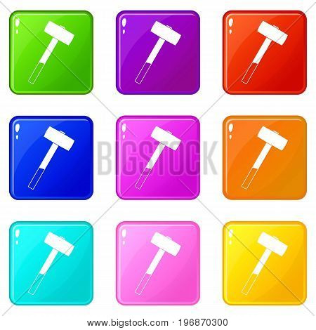 Sledgehammer icons of 9 color set isolated vector illustration