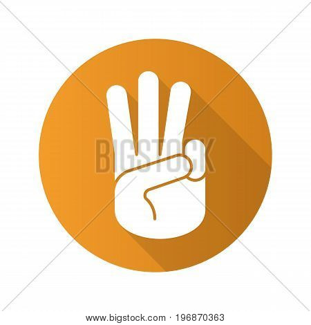 Three fingers up flat design long shadow glyph icon. Scout promise sign. Vector silhouette illustration