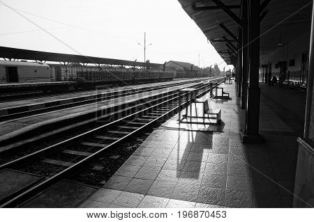 Solo Balapan train station in black and white