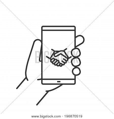 Hand holding smartphone linear icon. Thin line illustration. Smart phone business app contour symbol. Vector isolated outline drawing