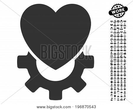 Mechanical Heart icon with black bonus profession icon set. Mechanical Heart vector illustration style is a flat gray iconic symbol for web design, app user interfaces.
