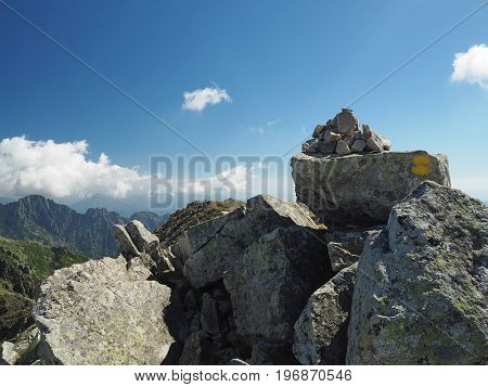 Mountain Trek Scenery Cairn Yellow Marked Path, Stone Pile