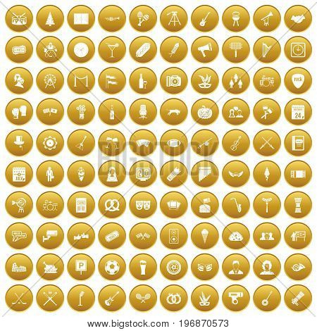 100 meeting icons set in gold circle isolated on white vector illustration