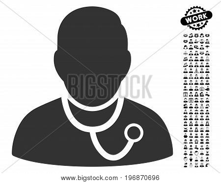 Medic icon with black bonus men clip art. Medic vector illustration style is a flat gray iconic element for web design, app user interfaces.