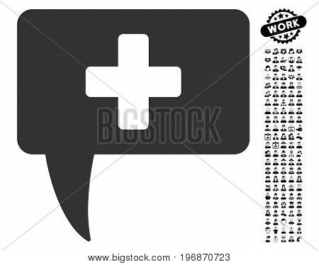 Medical Answer icon with black bonus people graphic icons. Medical Answer vector illustration style is a flat gray iconic symbol for web design, app user interfaces.