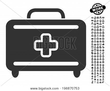 Medical Baggage icon with black bonus job icon set. Medical Baggage vector illustration style is a flat gray iconic symbol for web design, app user interfaces.