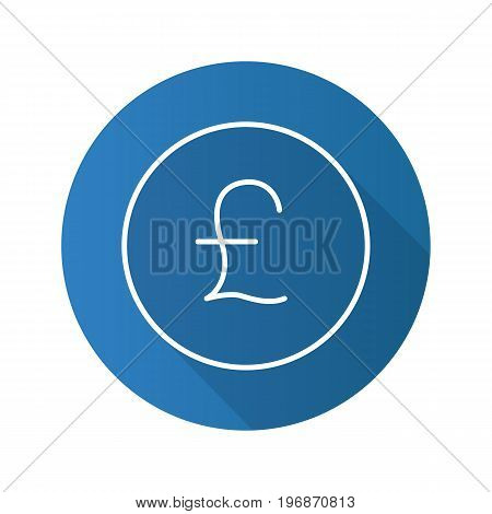 Pound flat linear long shadow icon. Great Britain national currency. Vector outline symbol