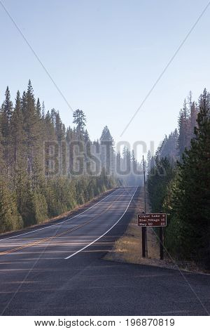 Crater Lake Entrance With Smoke