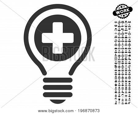 Medical Bulb icon with black bonus men design elements. Medical Bulb vector illustration style is a flat gray iconic element for web design, app user interfaces.