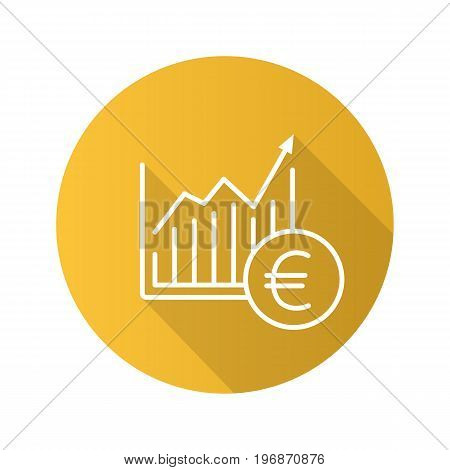 Market growth chart flat linear long shadow icon. Statistics diagram with euro sign. Vector outline symbol