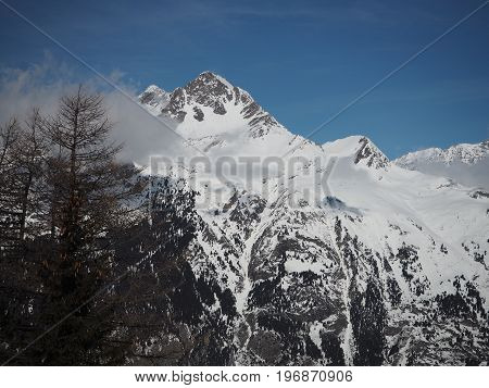 Alpine Mountain View In Europe Winter Snow
