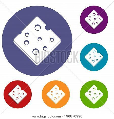 Cheese fresh block icons set in flat circle red, blue and green color for web