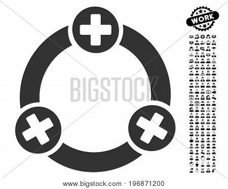 Medical Collaboration icon with black bonus job pictures. Medical Collaboration vector illustration style is a flat gray iconic symbol for web design, app user interfaces.
