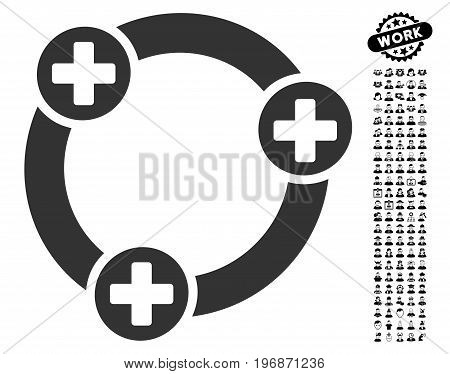 Medical Collaboration icon with black bonus men pictures. Medical Collaboration vector illustration style is a flat gray iconic symbol for web design, app user interfaces.