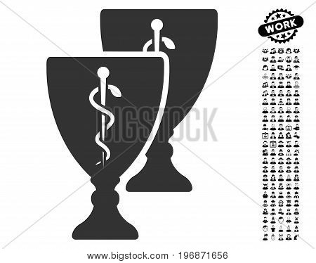 Medical Cups icon with black bonus profession design elements. Medical Cups vector illustration style is a flat gray iconic element for web design, app user interfaces.