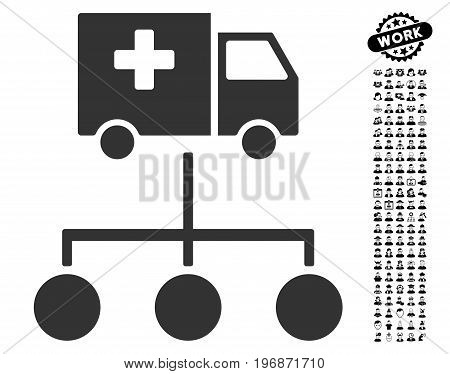 Medical Delivery Links icon with black bonus men icon set. Medical Delivery Links vector illustration style is a flat gray iconic element for web design, app user interfaces.