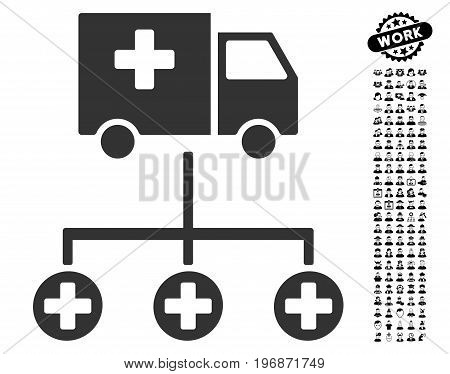 Medical Delivery Structure icon with black bonus men pictograph collection. Medical Delivery Structure vector illustration style is a flat gray iconic symbol for web design, app user interfaces.