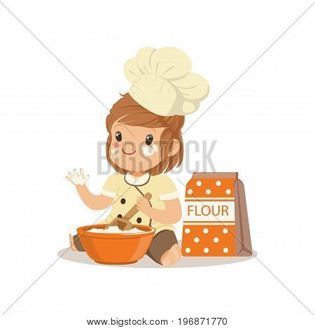 Cute smiling little girl chef with bowl and whisk baking vector Illustration isolated on a white background