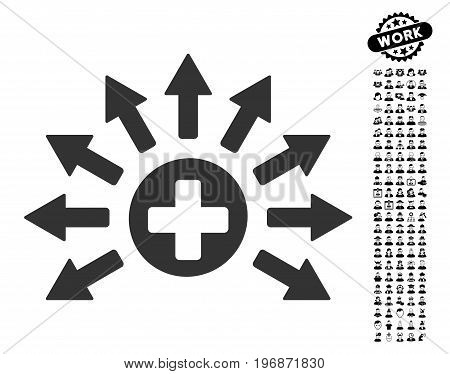 Medical Distribution icon with black bonus men design elements. Medical Distribution vector illustration style is a flat gray iconic element for web design, app user interfaces.